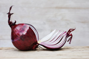 Close up of sliced red onion