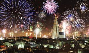 Fireworks explode over Reykjavik