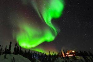 yellowknife - northwest territories - aurora borealis lighting up the sky