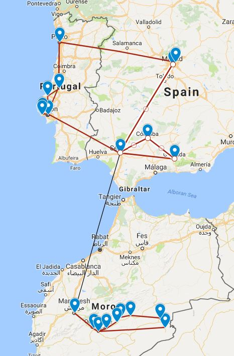 Detailed Map Of Spain Portugal And Morocco.Spain Morocco And Portugal The Great Canadian Travel Co
